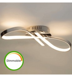 Plafonnier LED dimmable design ruban infini chromé - Acht