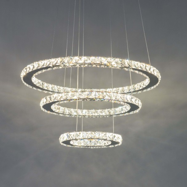 Suspension prestige cristal LED Oslo - 3 anneaux modulables