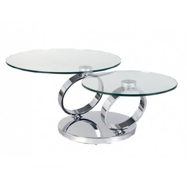 Finest table basse verre tremp fly table basse ronde for Table extensible fly