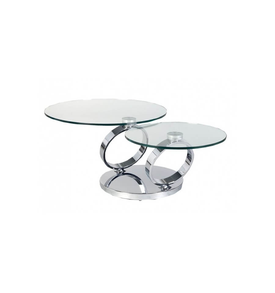 Table basse ronde design deux plateaux tournants pivotable for Table basse en verre trempe