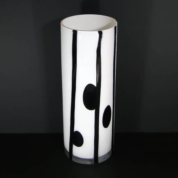 vase design noir blanc h40 x l15 cm lou marque kosilum. Black Bedroom Furniture Sets. Home Design Ideas