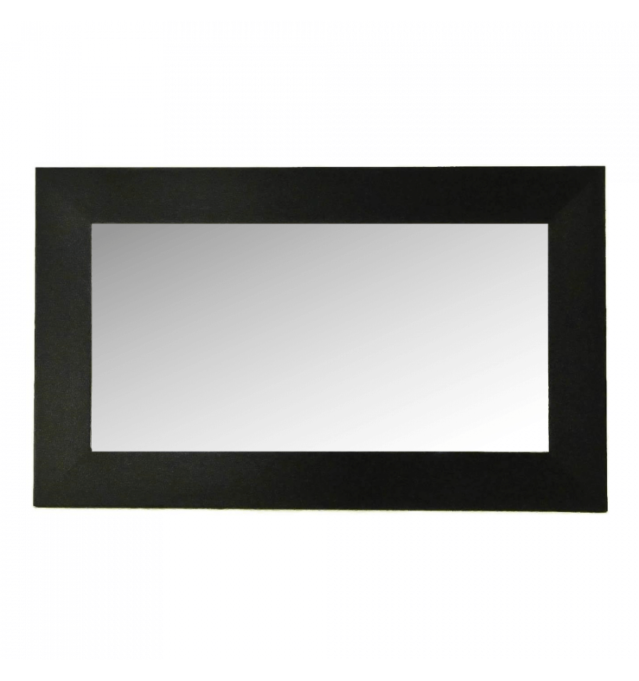 Miroir rectangle noir bois 100 cm for Miroir design noir