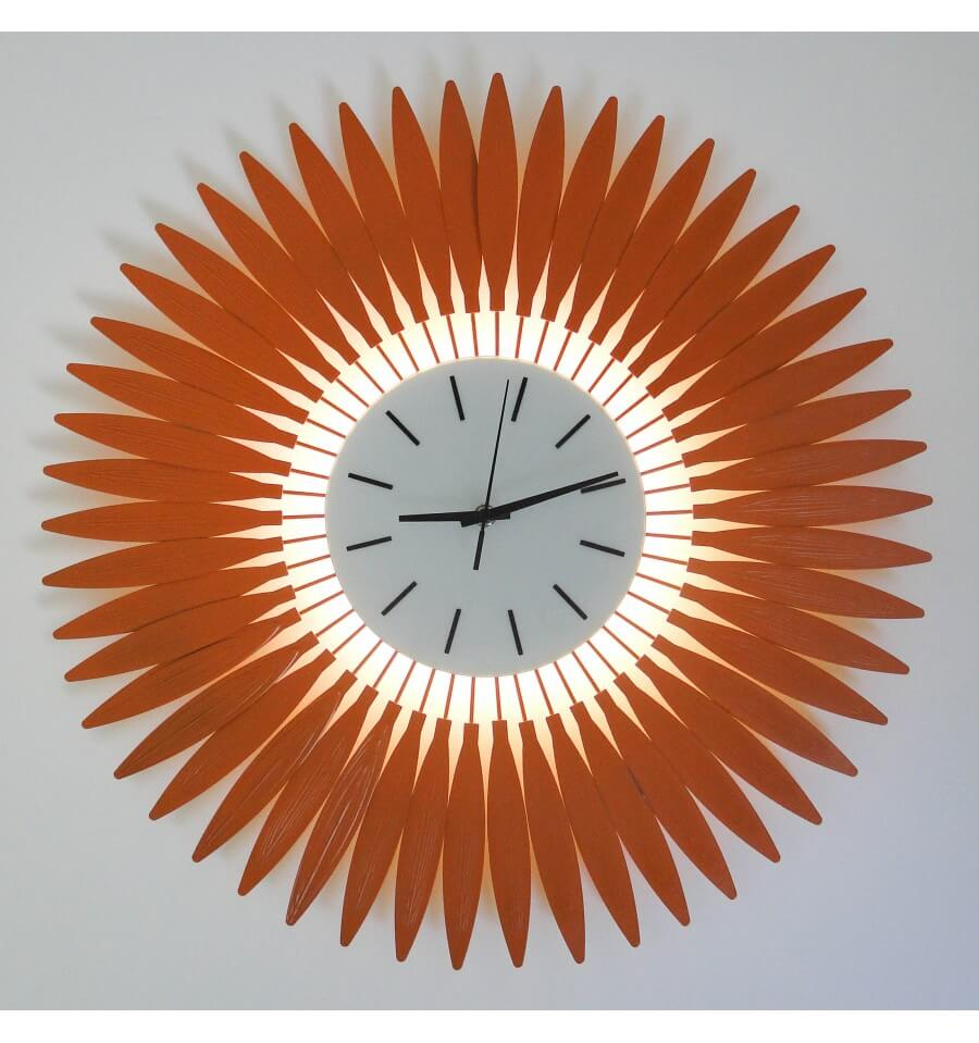 horloge led aiguille orange tournesol. Black Bedroom Furniture Sets. Home Design Ideas