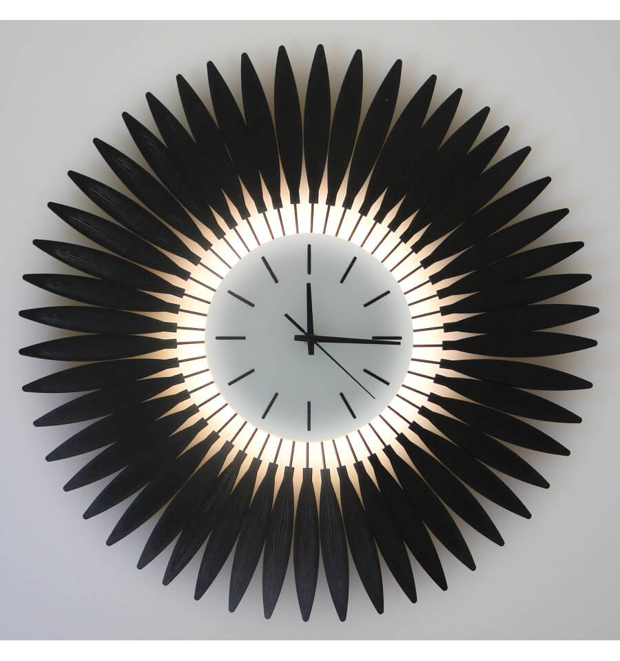 horloge aiguille et applique de 54cm en tournesol noir avec 24 led. Black Bedroom Furniture Sets. Home Design Ideas