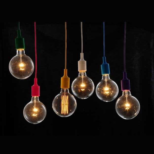 Suspension design rouge ampoule filament for Luminaire suspension rouge