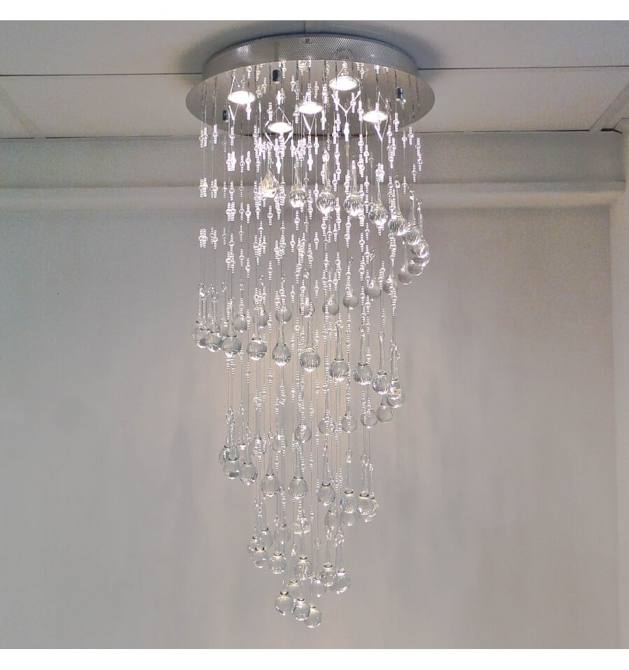 Lustre cristal design krakow transparent achat de for Luminaire lustre design