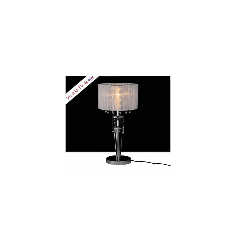 Lampe poser cristal chrome for Lampe de chevet cristal