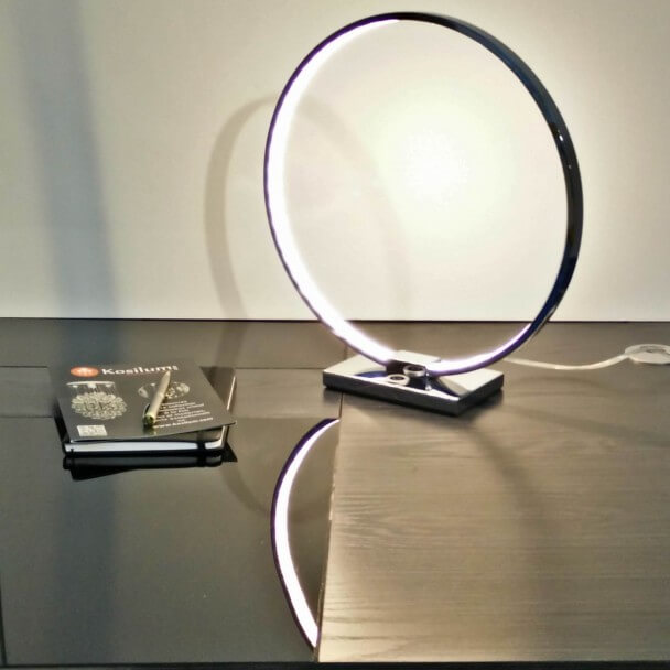 Lampe A Poser Design Chrome Led Tactile 3 Intensites Collection Circle