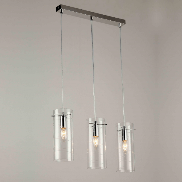 Suspension design verre multiple triple e14 edell for Luminaire triple suspension