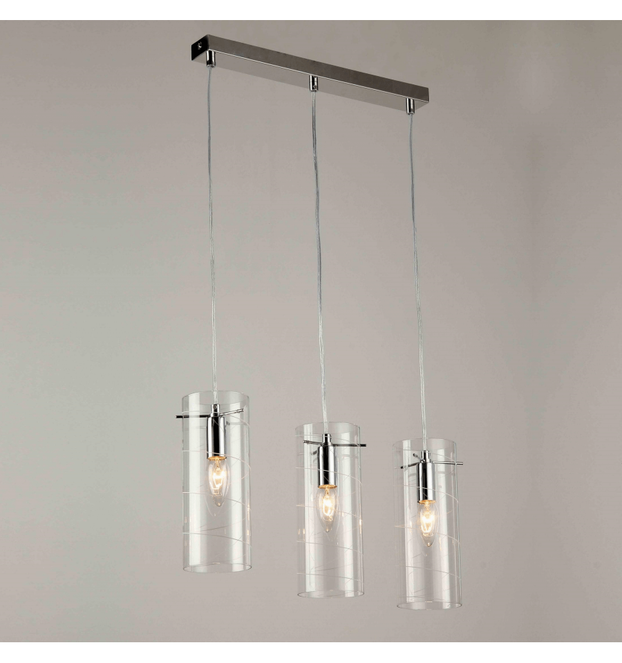 Suspension design verre multiple triple e14 edell for Suspension multiple cuisine