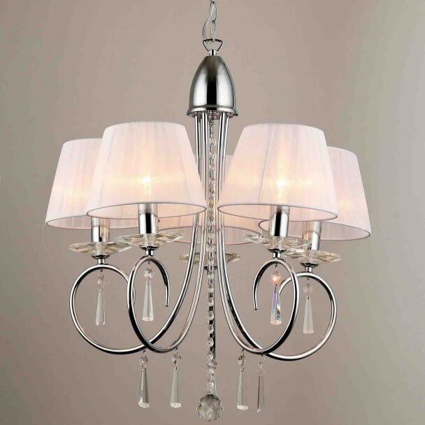 lustre baroque 5 bras cristal et chrome. Black Bedroom Furniture Sets. Home Design Ideas
