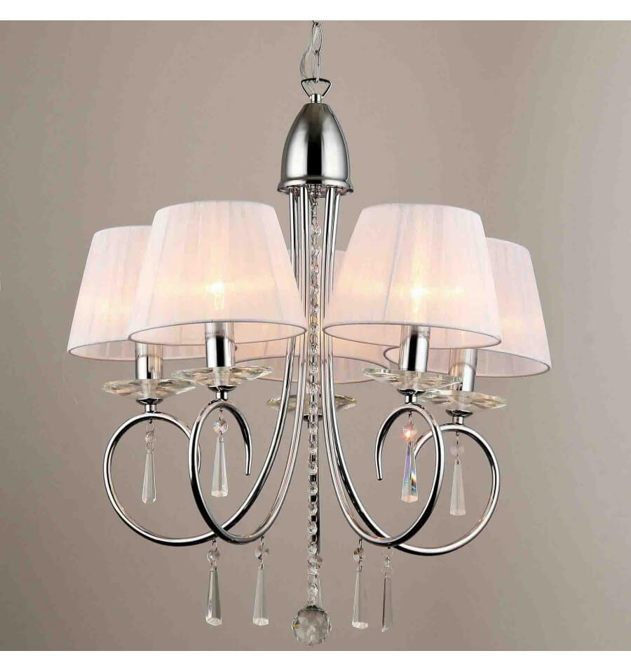 Lustre baroque 5 bras cristal et chrome for Lustres et suspensions design