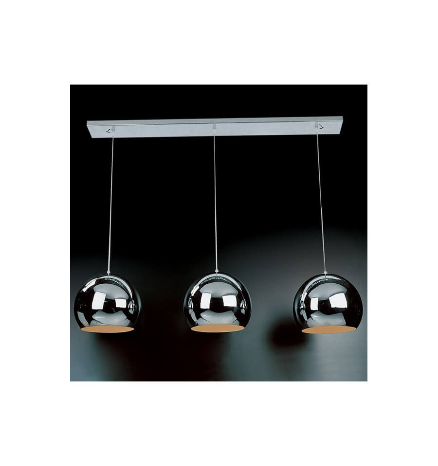 Suspension chrom e triple lumi re design chicago for Lustre suspension triple