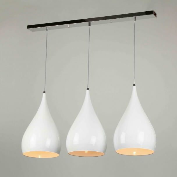 Suspension multiple blanc laqu triple lumi re e27 design jasmin - Suspension multiple ampoule ...