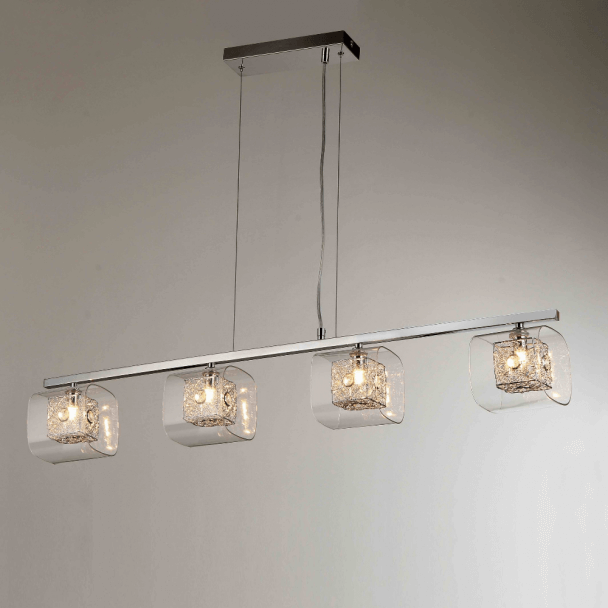 Suspension barre design chrome 4 lumières