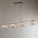 Suspension barre design chrome 4 lumières - Collection Calluna