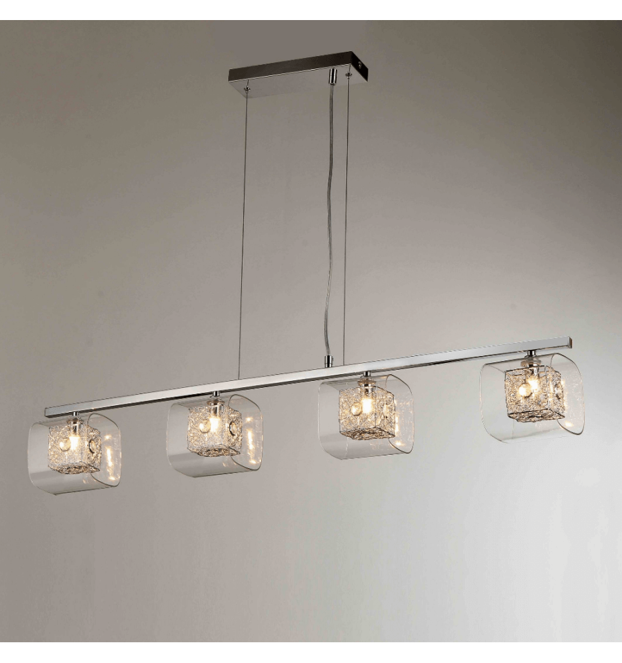 Suspension barre chrom e 4 lumi res for Suspension luminaire en verre transparent