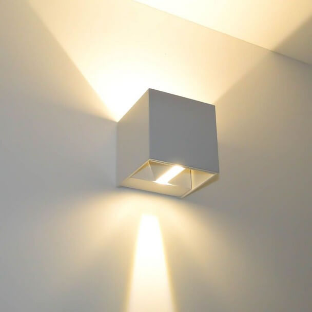 Applique Murale Blanche Led Design Cubic Kosilum