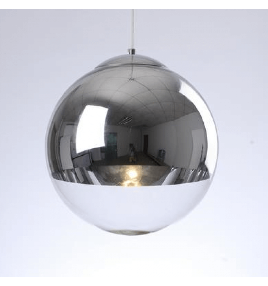 suspension design sph re chrome verre transparent globe