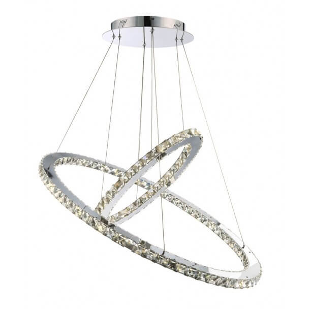Suspension prestige cristal LED Oslo- 2 anneaux