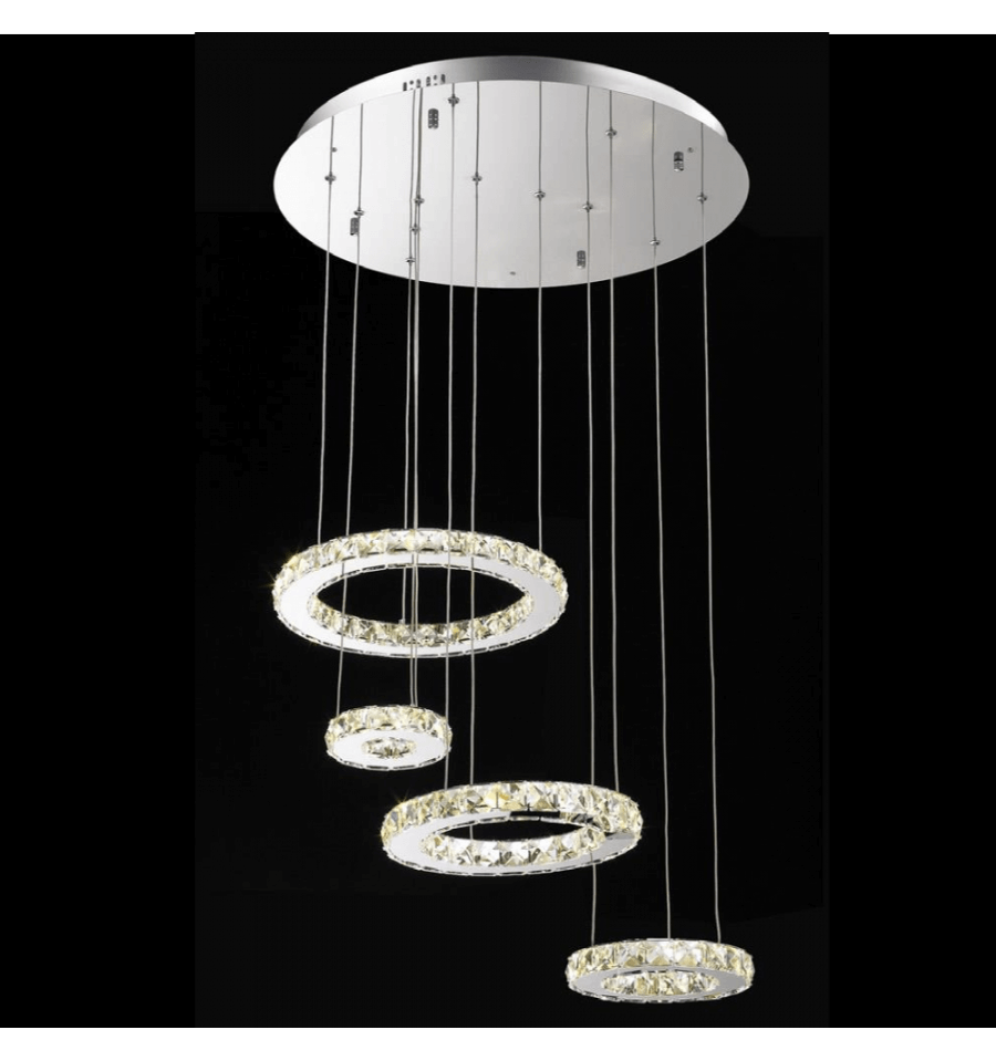 Lustre cristal led 4 anneaux for Lustres et suspensions design