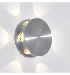 Applique LED ronde aluminium argent design - Kina