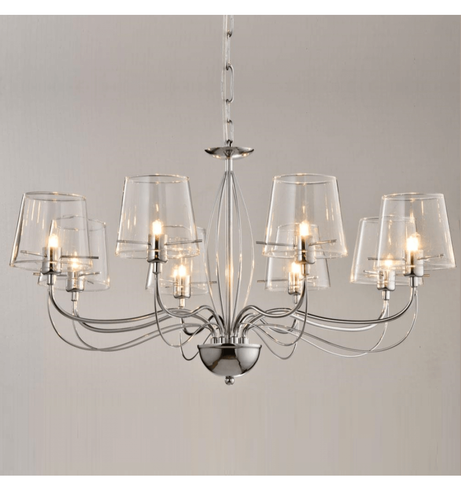 Grand lustre baroque 8 verres transparents for Lustre luminaire