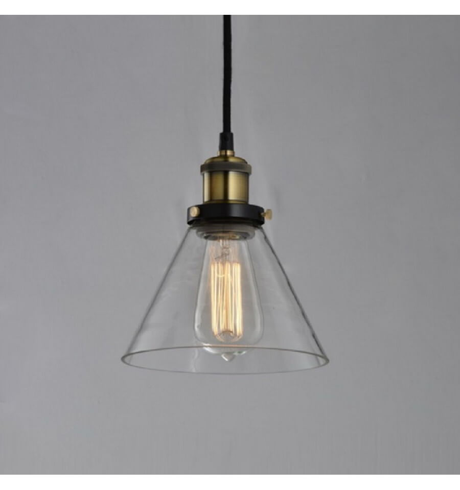 Suspension conique verre transparent et bronze dallas - Suspension luminaire pour salon ...