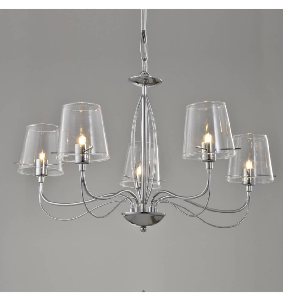 Lustre baroque design 5 bras verre transparent matane for Luminaire lustre design