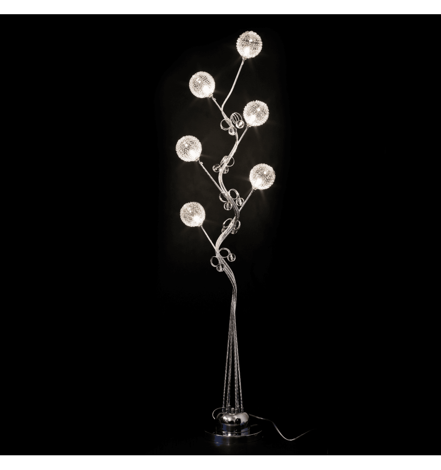 Lampadaire design arbre 6 lumi res et chrome lydia for Grandes lampes de salon