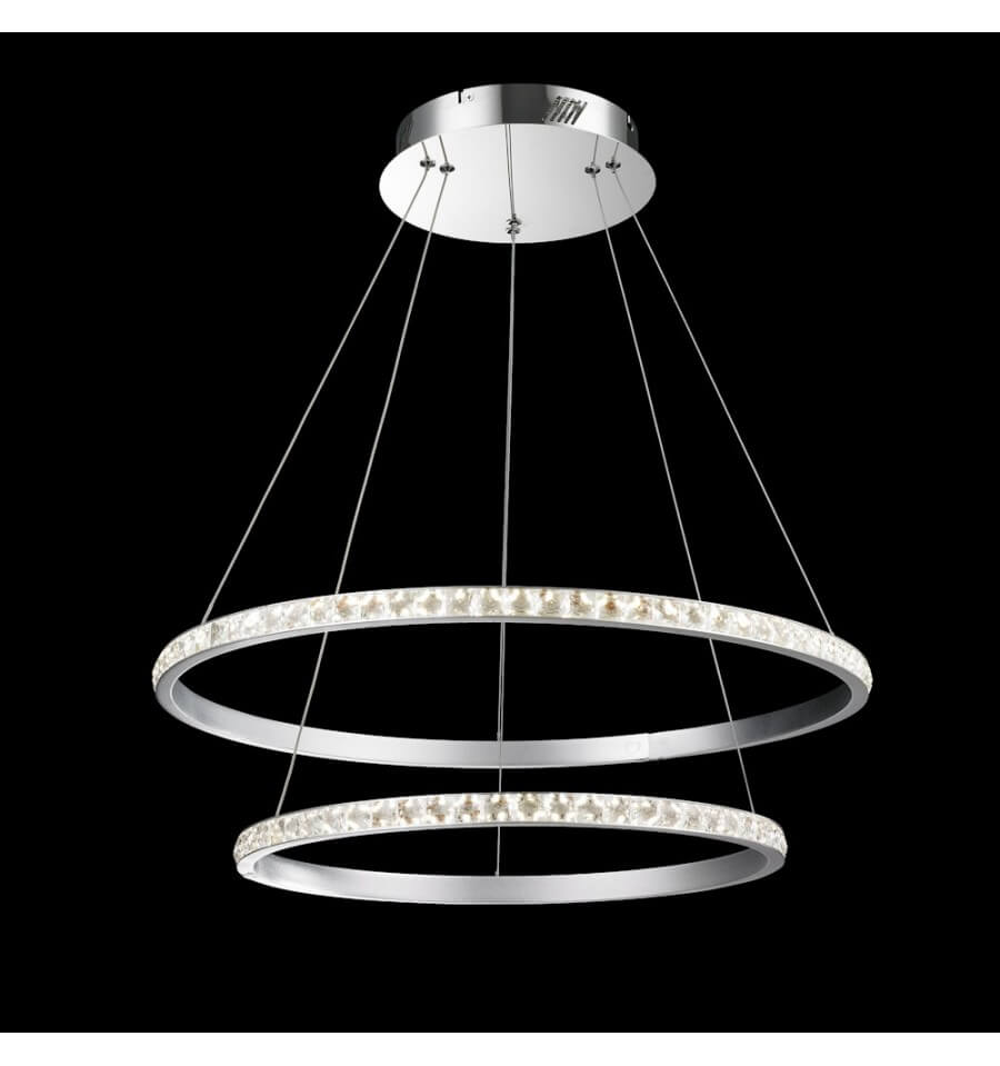 suspension led cercle en cristal deux anneaux duccio. Black Bedroom Furniture Sets. Home Design Ideas