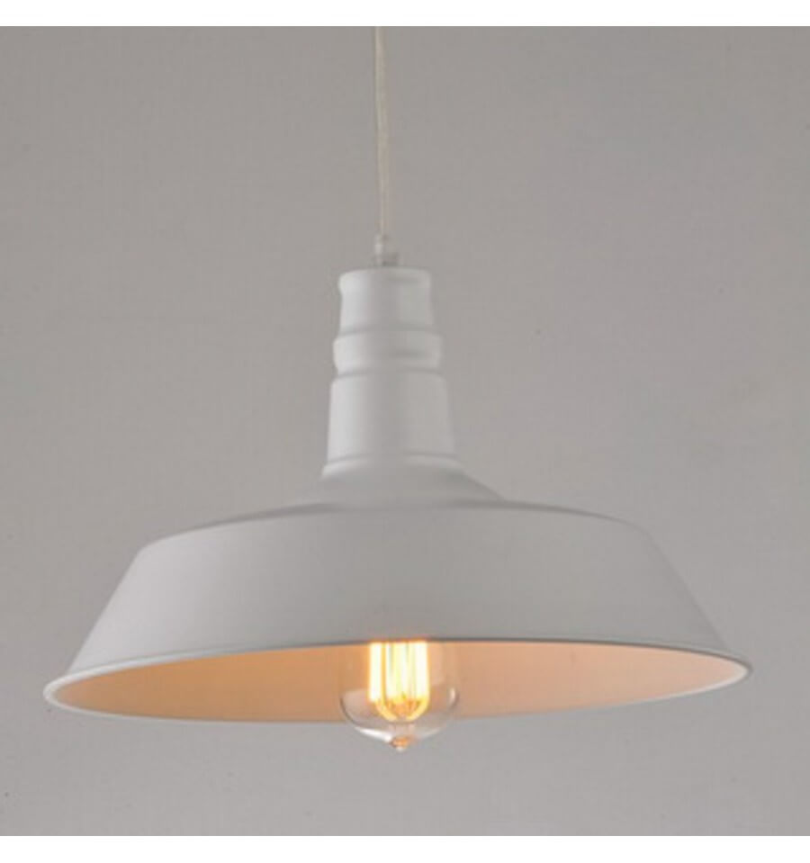 Suspension industrielle design blanc xena kosilum for Suspension blanche design