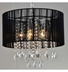 Suspension prestige design cristal noir - Regina