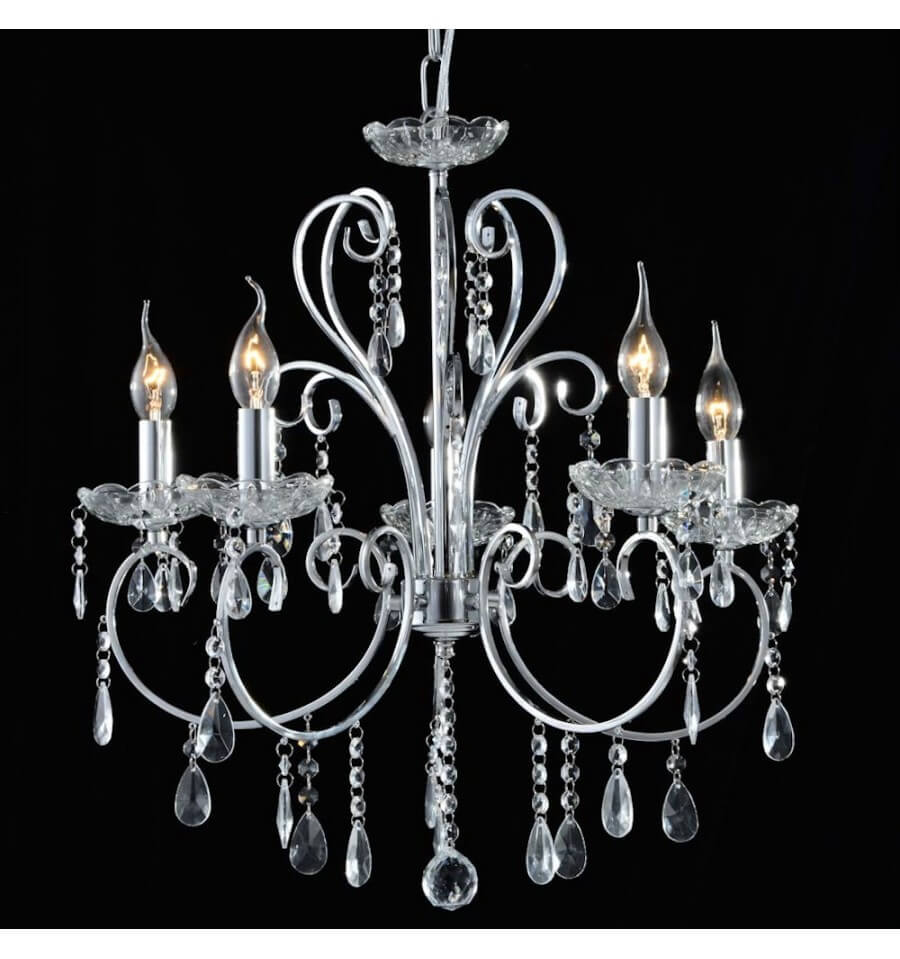lustre 5 bras cristal baroque pampilles argent pavia. Black Bedroom Furniture Sets. Home Design Ideas