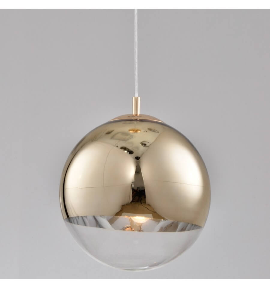 Suspension design globe 30 cm boule dor e transparente for Luminaire suspension boule