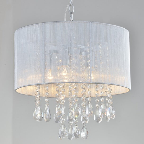 Suspension prestige design cristal blanc - Regina