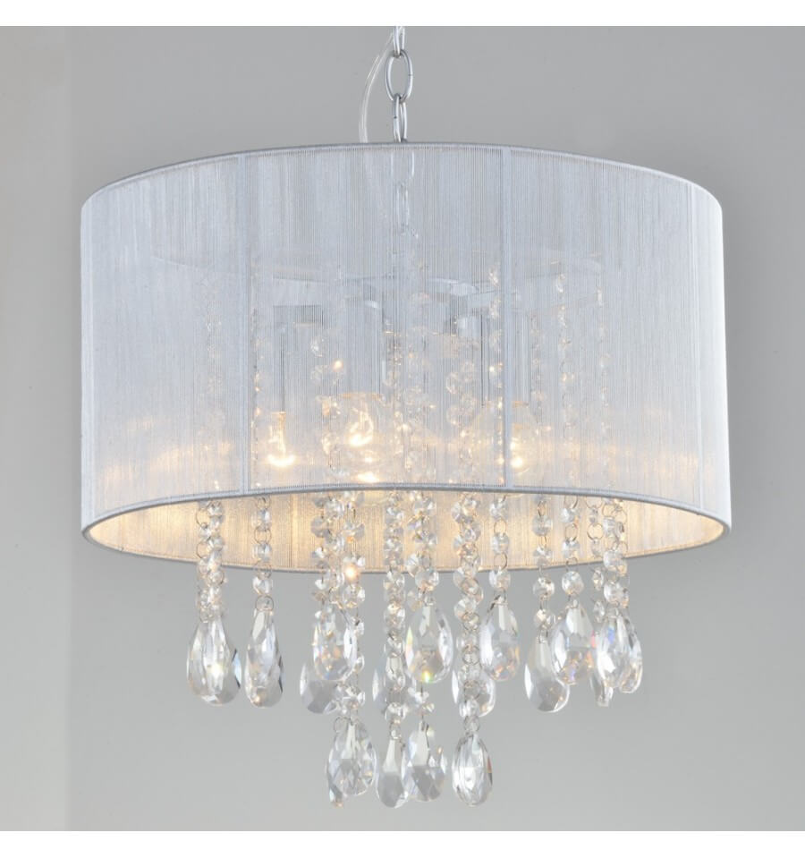 Suspension design lustre argent et pampilles regina for Lustre suspension design