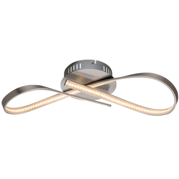 Plafonnier LED design ruban infini nickel - Acht