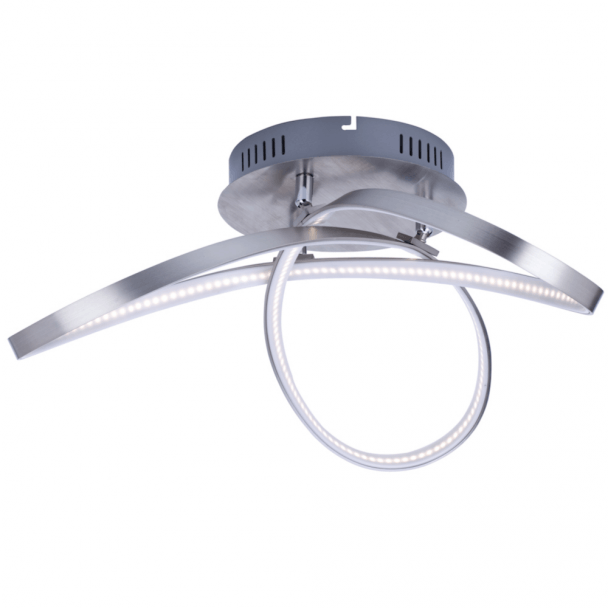 Plafonnier design moderne LED 3 boucles nickel satiné - Acht