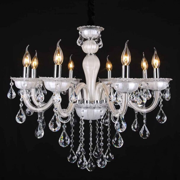 lustre pampilles blanc 8 bras baroque roma. Black Bedroom Furniture Sets. Home Design Ideas