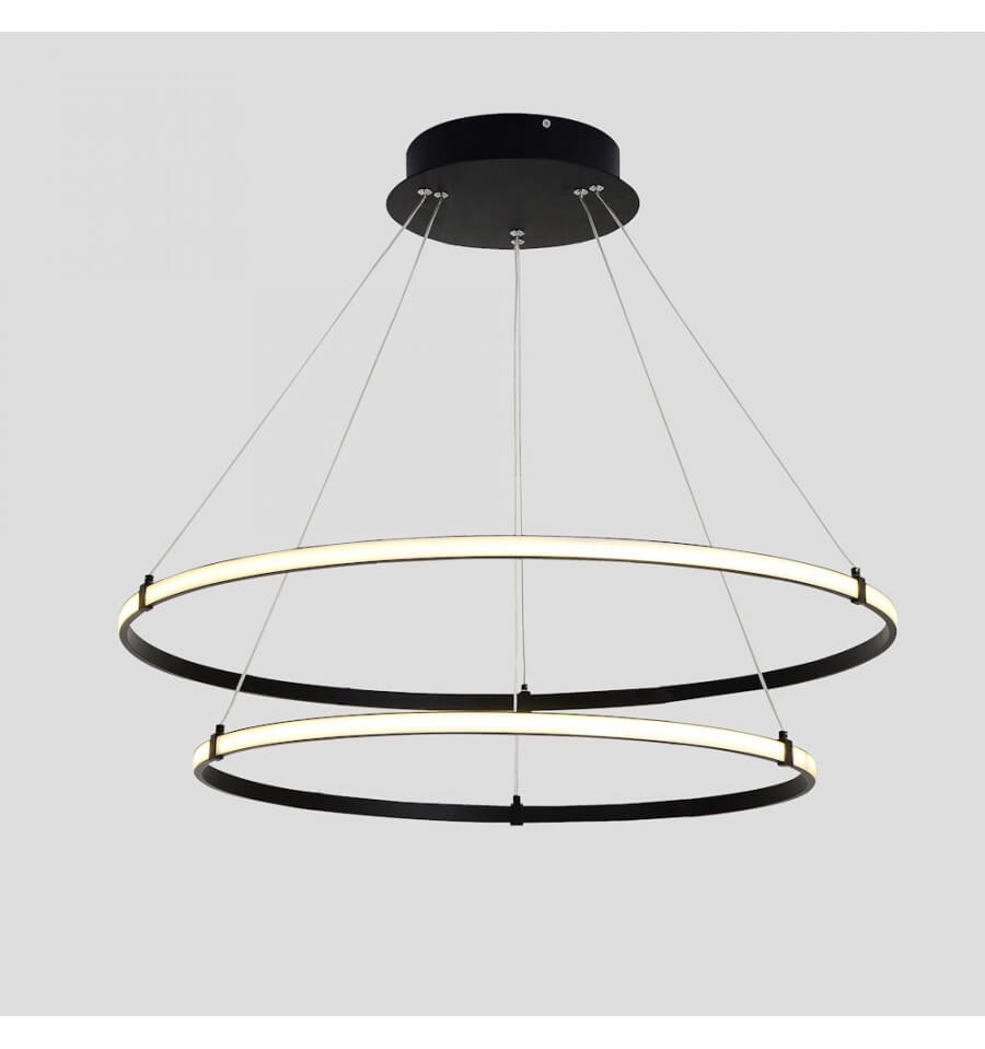 Lustre suspension led deux anneaux noirs ozzello for Lustre suspension design