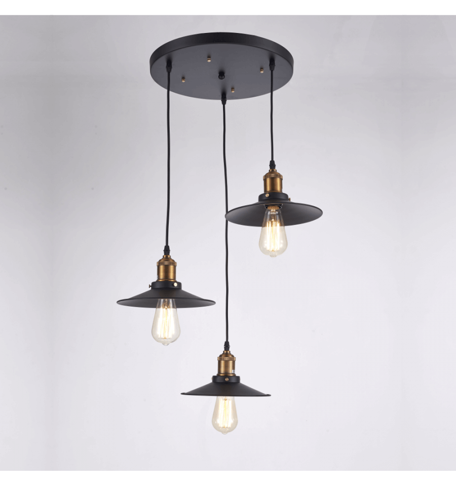 Suspension loft vintage triple lampe scopa for Lustre suspension triple