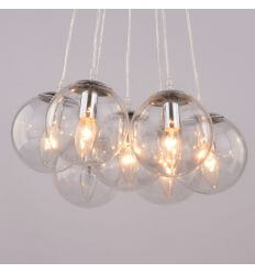 Suspension design 7 boules en verre transparent - Septua