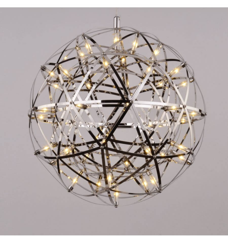 Suspension led chrom guirlande m tal carolina for Luminaire suspension boule
