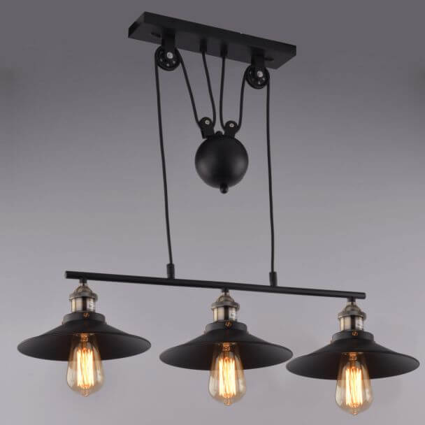 Lampe industrielle suspension noir 3 abat jours e27 piattino for Suspension trois lampes