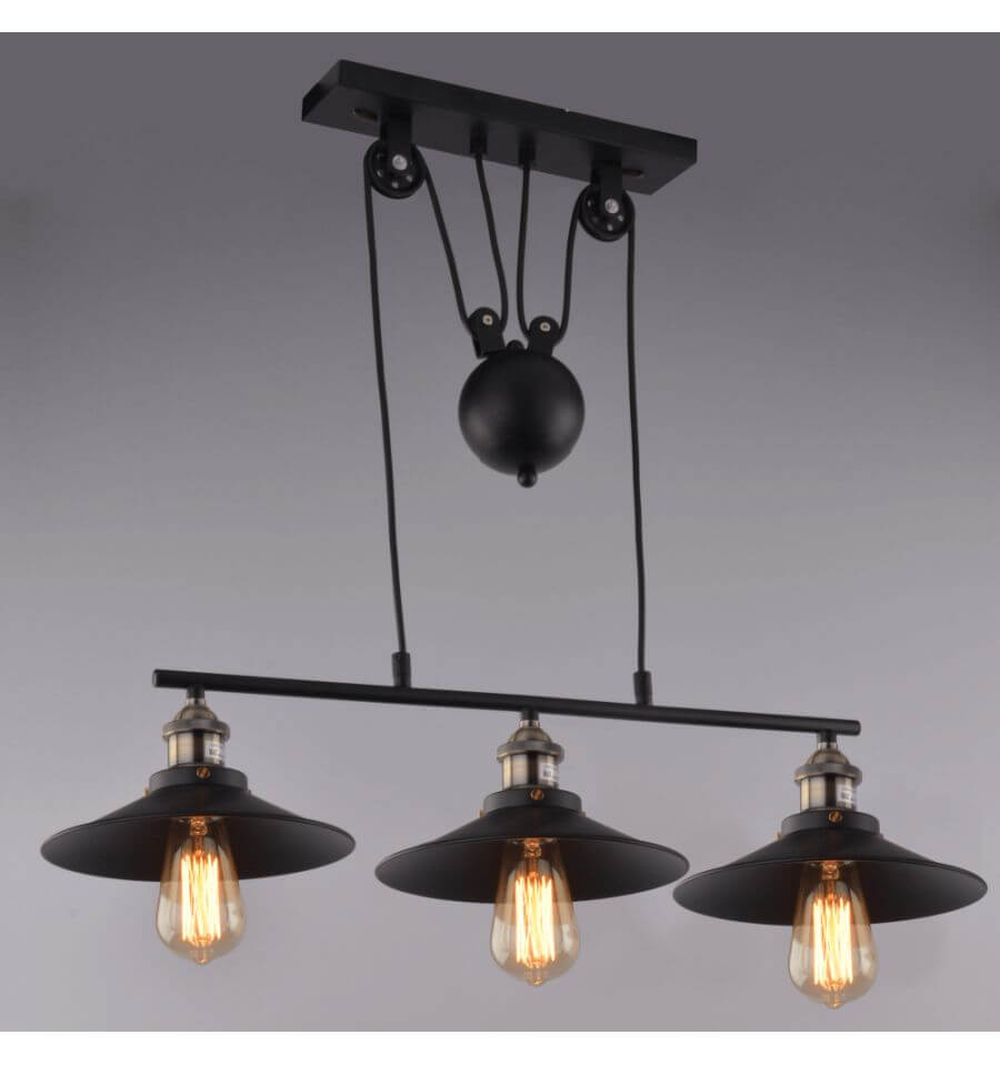 Lampe industrielle suspension noir 3 abat jours e27 piattino - Suspension multiple ampoule ...