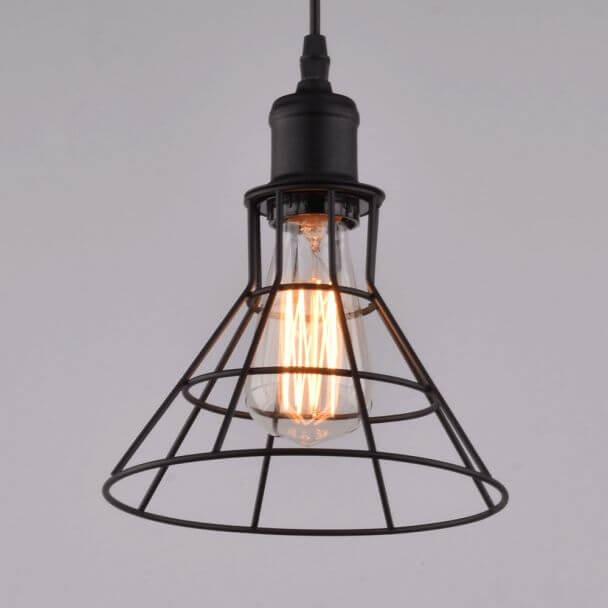 Suspension conique industrielle m tal noir e27 sergio - Suspension luminaire style industriel ...