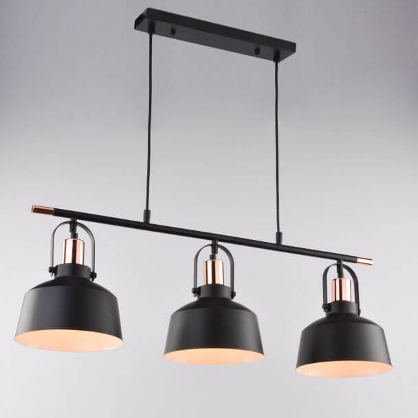 Suspension loft industrielle m tal noir 3 abat jours e27 for Suspension triple pour cuisine