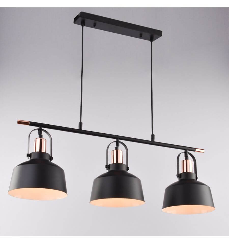 Suspension loft industrielle m tal noir 3 abat jours e27 for Lustre suspension triple