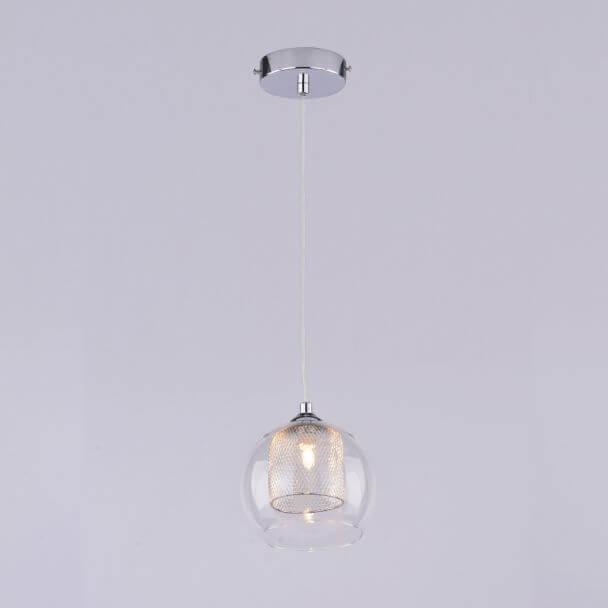 Suspension boule chrome et verre - Dahlia